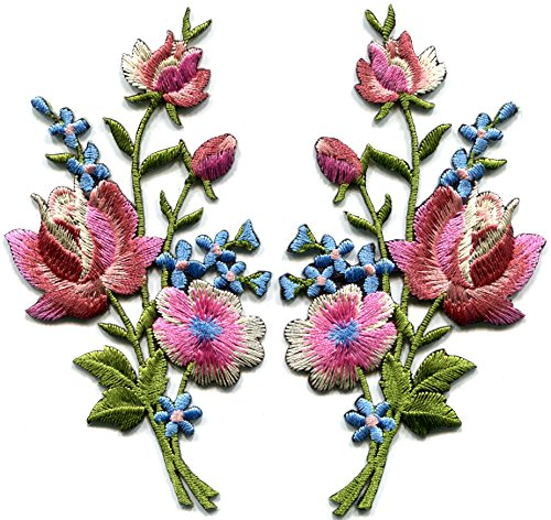 flowers bouquet embroidered appliques iron ons