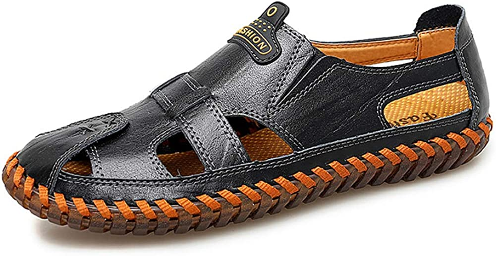 Mubeuo Mens Leather Skidproof Closed Toe Beach Travel Trip Sandals