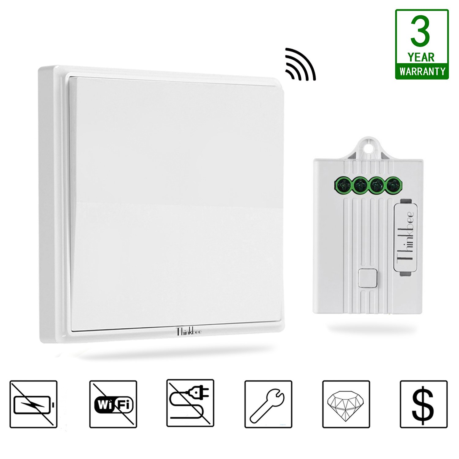 Thinkbee Wireless light Switch Kit, 2017 newest style. Move or add a ...