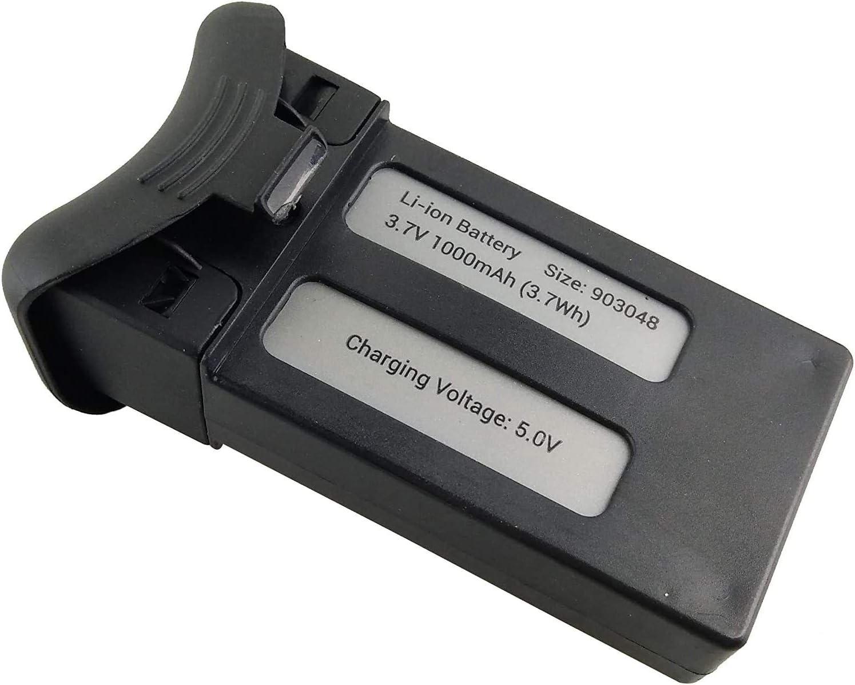 Fytoo 2PCS 3.7V 1000mAh Lipo Bater/ía para SJRC S20W T25 RC Quadcopter Repuestos Negro