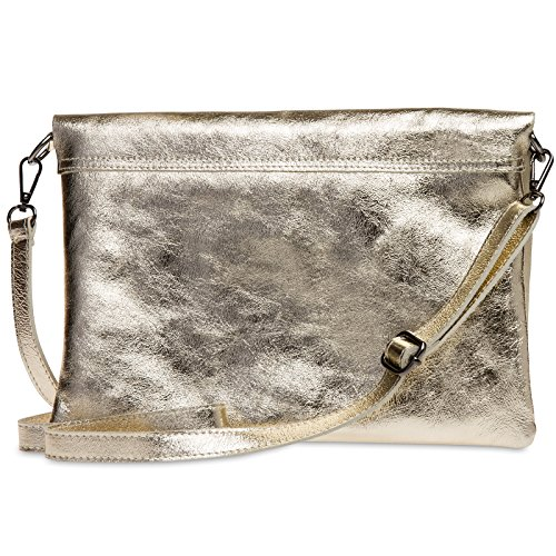 Strap Envelope Ladies Leather Caspar Evening Gold Bag Shoulder Tl770 Metallic Clutch Large With qAwxRTHp