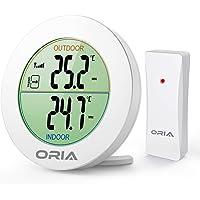 ORIA Inomhustermometer, trådlös temperaturskärm, digital LCD-termometer med fjärrsensor, utomhuspil trender (°C/°F), min…