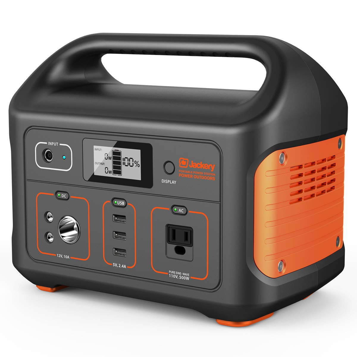 Jackery Portable Power Station Explorer 500, 518Wh Outdoor Mobile Lithium Battery Pack with 110V/500W AC Outlet, Solar-Ready Generator RV Battery CPAP Power Outage Emergency Kit (Solar Panel Optional)