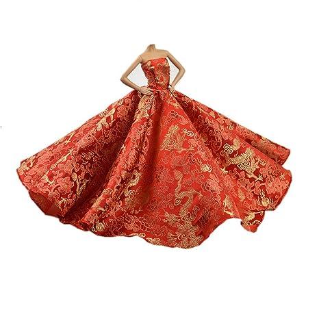 Youvinson Diversi abiti fatti a mano da sposa e vestiti per bambole Barbie  (Colore Rosso 29754c66cc6