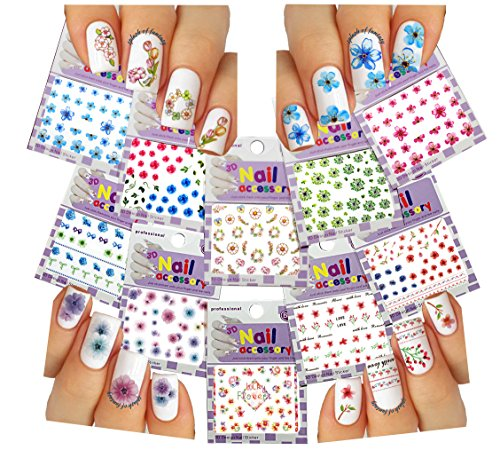 Nail Art 3D Stickers ♥ Mixed Flower Collection of 10 Decals /EE-III/ Floral Collection Rose
