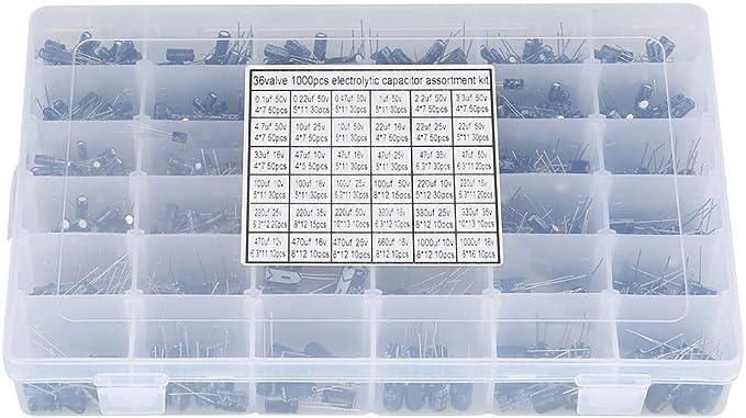 Akozon Capacitor Assorted Kit 500pcs 24 Values Aluminum Electrolytic 10V~50V 0.1uF to 1000uF