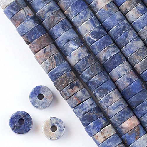 - Cherry Blossom Beads Large Hole 2.5mm Drilled Matte Sodalite Beads 3-5x10mm Heishi - 8 Inch Strand
