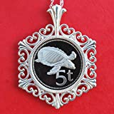 1975 Papua New Guinea 5 Toea Gem Proof Cameo Coin Solid 925 Sterling Silver Necklace NEW - Turtle - Wildlife Animal