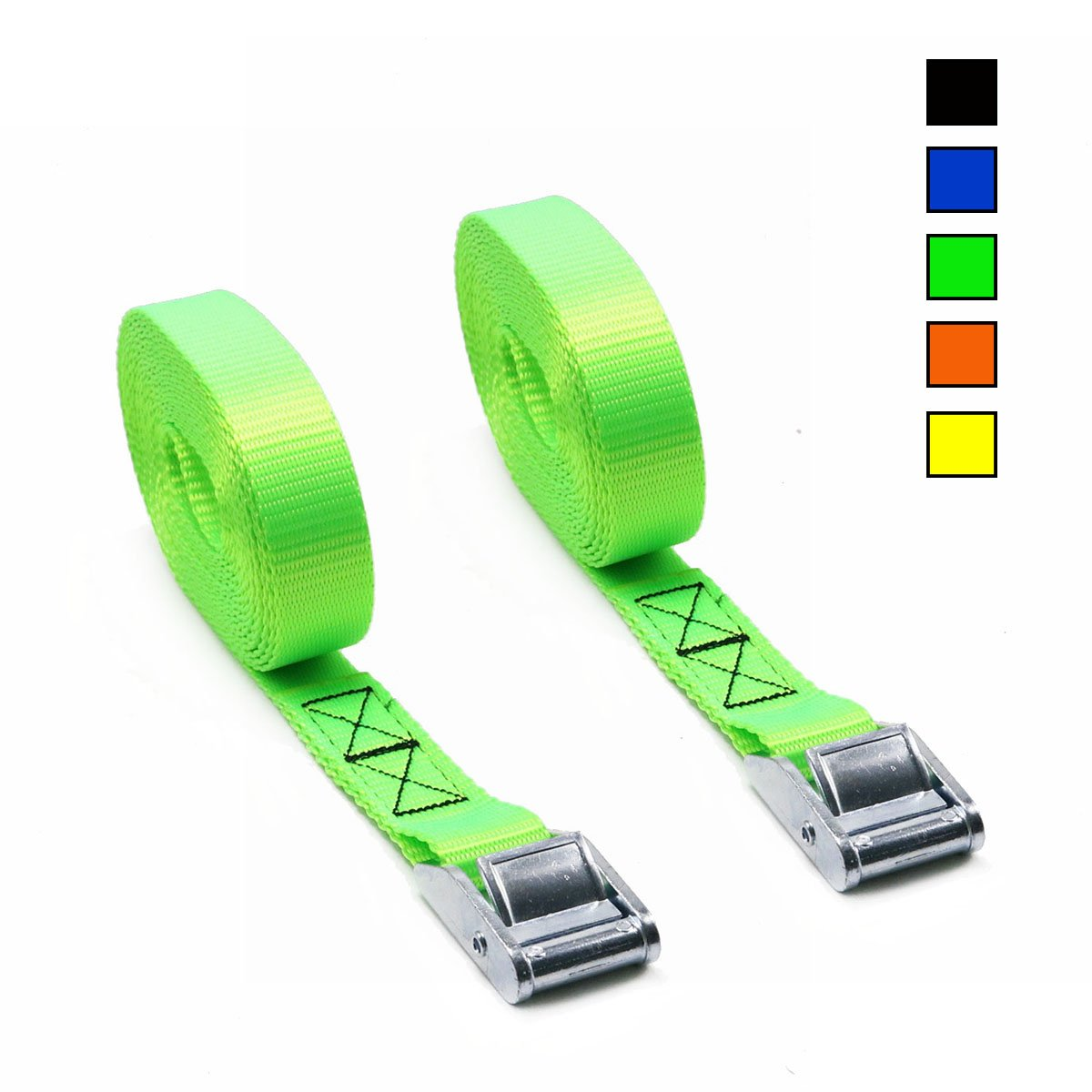 Xiangle Premium Cam Buckle Lashing Strap Tie Down Straps 8-foot-by-1-inch up to 1000lbs,2 Pack (16FT, 2pk Green)