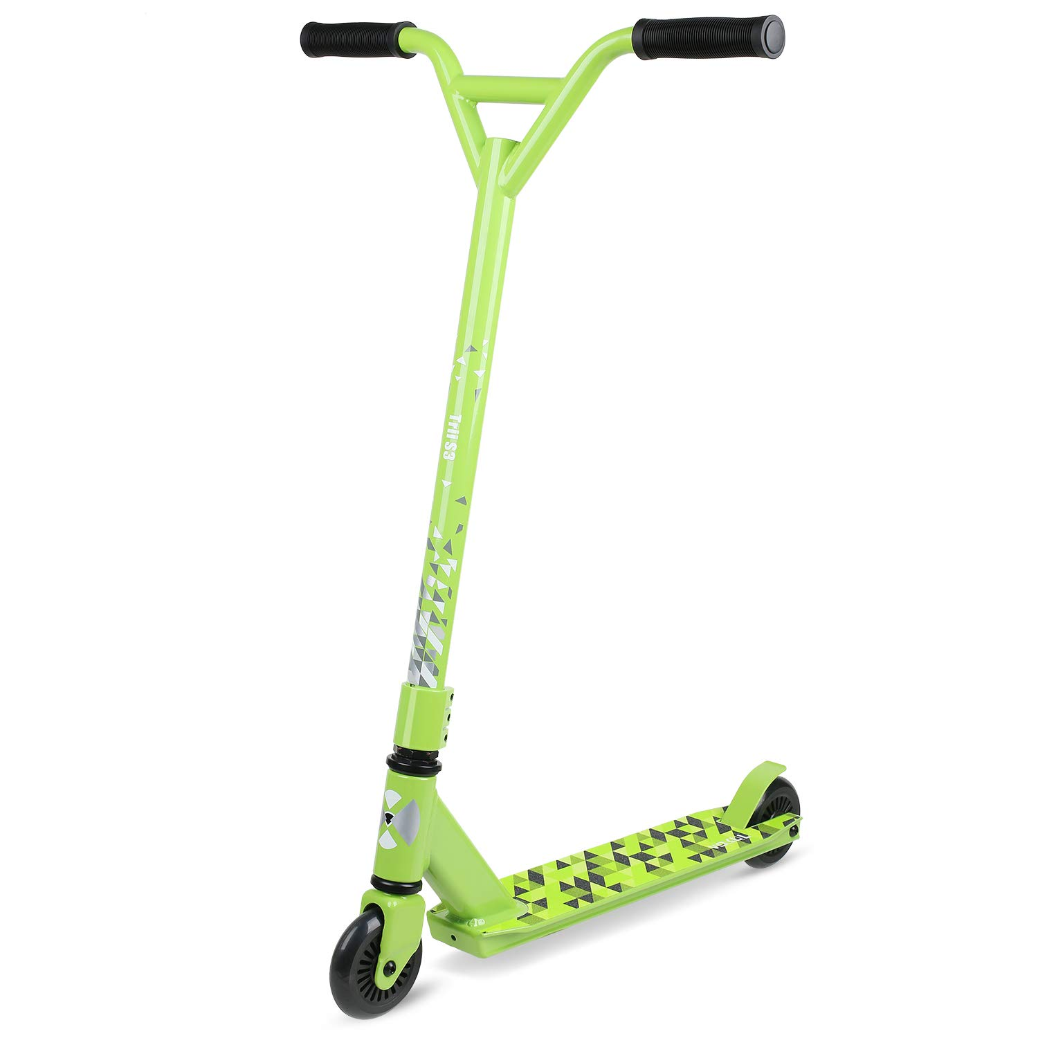 VOKUL S2 Tricks Pro Stunt Scooter with Stable Performance - Best Entry Level Freestyle Pro Scooter for Age 7 Up Kids,Boys,Girls - CrMo4130 Chromoly Bar - Reinforced 20'' L4.1 W Deck (Grass Green)