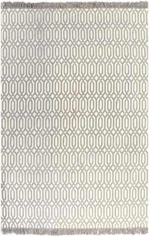 XINGLIEU Alfombra Kilim de algodón 120 x 180 cm con Motivos Grises Topo Alfombra Moderna Alfombra salón Alfombra salón Moderno: Amazon.es: Hogar
