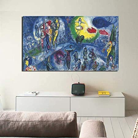 Leinwand Bilder 40x80cm kein Rahmen Marc Chagall Grand Cirque Wohnzimmer Home Decor Artwork Moderne Wandkunst /Ölgem/älde Poster Bild