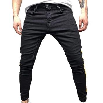 LuckyGirls Hombres Pantalones Vaqueros Rotos Rayas Jeans ...