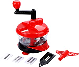 Hand Chopper, 5 in 1 Manual Food Chopper for Vegetable and Onion, Vegetable Chopper with 8 Cup Container, Anti-skid Base, Low-Speed Medium-Speed High-Speed