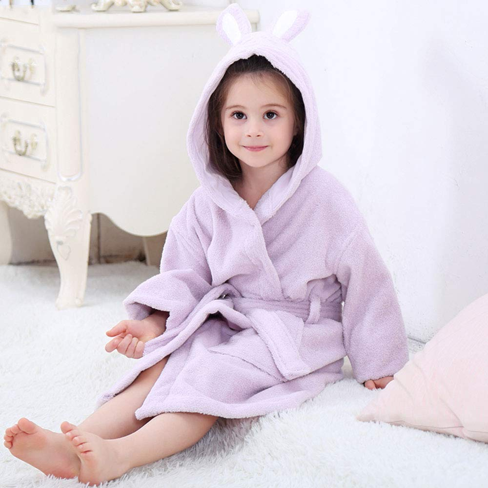 Bathrobe Children, Boys and Girls Hooded Soft Cotton Towel, Rabbit Ears, Class A by Bathrobe