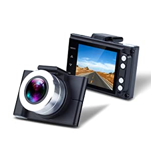 Yuwei 1080P FHD Dash Cam with 150 Wide Viewing Angle, Mini Car Dashboard Camera Recorder with G-Sensor, WDR, ADAS, Park Monitoring, Loop Recording