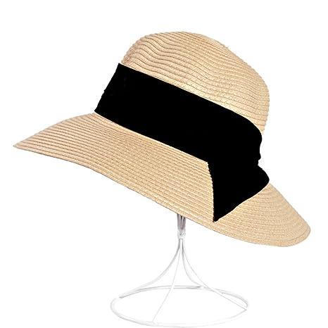 AJOG Women Summer Sun Beach Cappello Di Paglia Floppy Pieghevole Regolabile  A Tesa Larga Con Cappelli ca8671290049