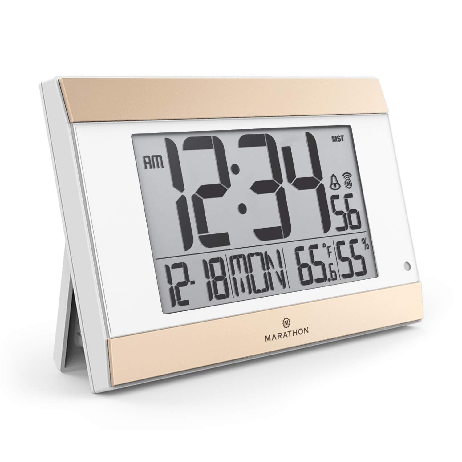 MARATHON CL030052WH Atomic Digital Wall Clock With Auto-Night Light, Temperature & Humidity - Batteries Included