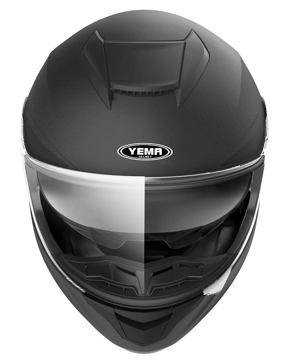Matte Black,Medium YEMA YM-831 Motorbike Street Bike Racing Crash Helmet with Sun Visor for Adult Men and Women Motorcycle Full Face Helmet DOT Approved