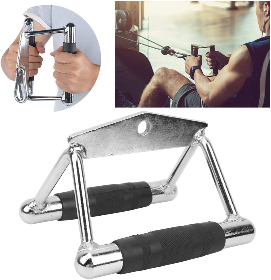 Double D Handle Anti‑Skid Pull Down Exercise Handles Heavy Duty Stainless Steel Gym for Fitness Training Handle Pull Down Bar Rowing Machine Handle
