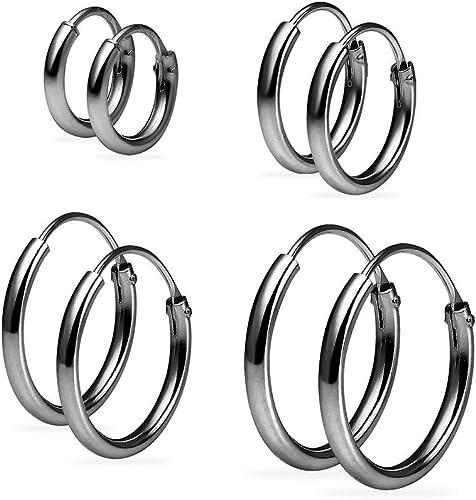 Mini Hoop Sterling Silver 925 Best Price Jewelry 14mm x 4pair Set Rose Decal