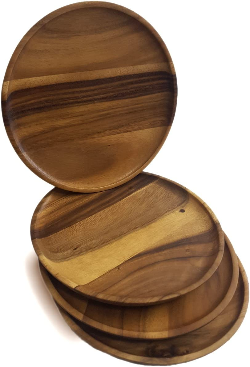 RoRo Classic Round Wood Serving Plates/Chargers, Set of 4, 11 Inch