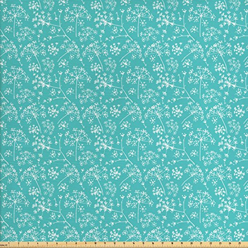 Ambesonne Turquoise Decor Fabric by the Yard, Delicate Umbrellas Parsley Dill Blossom Wildflower Summertime Plants, Decorative Fabric for Upholstery and Home Accents