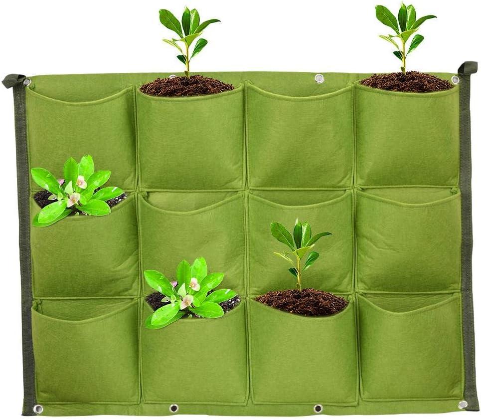 Liineparalle Jardinera Vertical Plantador Bolsas Colgantes Planta Jardinera Colgante Vertical con 12 Bolsillos Montaje en Pared Bolsa de Cultivo Viva