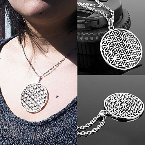 Panwa Jewelry Fashion Jewelry Necklace Flower Of Life Pendant Sacred Geometry Silver Chain