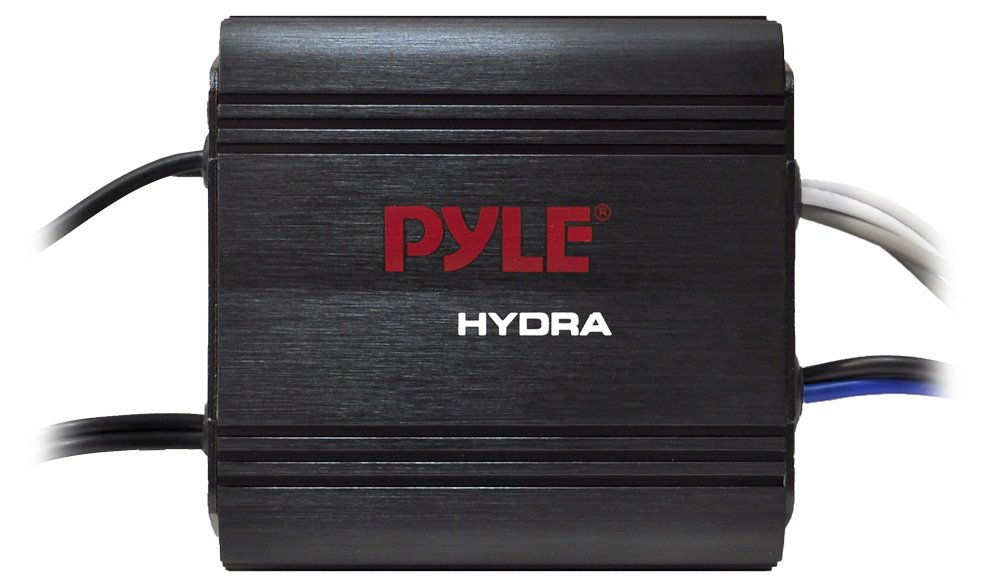 Pyle 2-Channel Marine Amplifier Receiver - Waterproof and Weatherproof Audio Subwoofer for Boat Stereo Speaker & Other Watercraft - 400 Watt Power, Wired RCA, AUX and MP3 Audio Input Cable