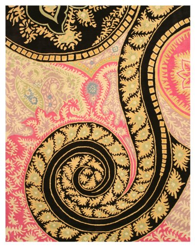 EORC IE8780C Hand Tufted Wool Paisley Rug, 4-Feet by 6-Feet, Black
