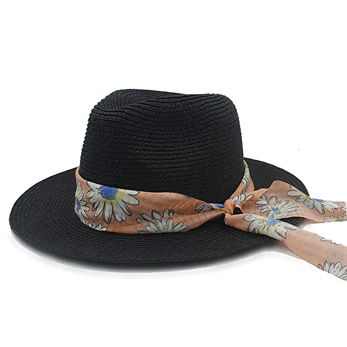 Gorros Moda Para Mujer Sombrero Para Sombrero El De Sol Paja Especial Estilo Para Playa Con Banda De Tela Elegante Dama Sombrero De Panamá Sombrero De ...