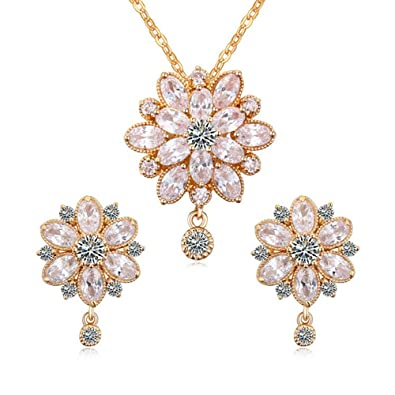 e33628042 Women's Swarovski Elements Crystal Flower Pendant Necklace Earrings Wedding  Jewelry Sets for Bridesmaids