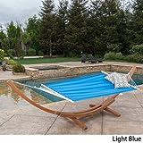 Christopher Knight Home 299373 Cayman Fabric Hammock, Teak Light Blue