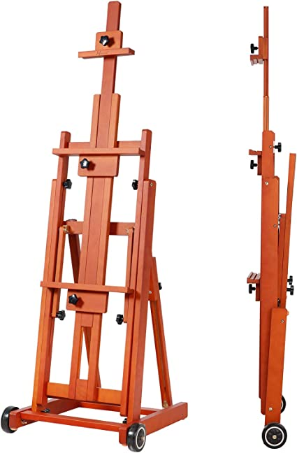 MEEDEN Extra Large Studio Easel Solid Beech Wood H-Frame Artist Easel Accommodates Canvas Art up to 92 inch high