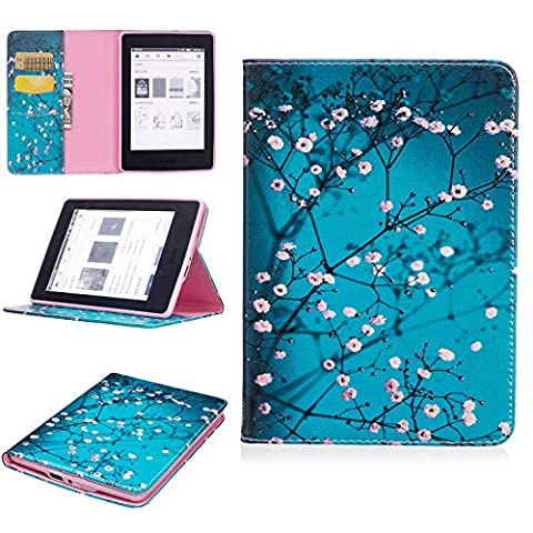 Kindle Paperwhite Case, Jessica PU Leather Folio Flip Smart Stand Wallet Case with Built in Card Slots & Money Slot for all-new Amazon Kindle Paperwhite (Fits all 2012, 2013, 2015 and 2016 (Kindle Fire Case 6 Inch Hard Case)