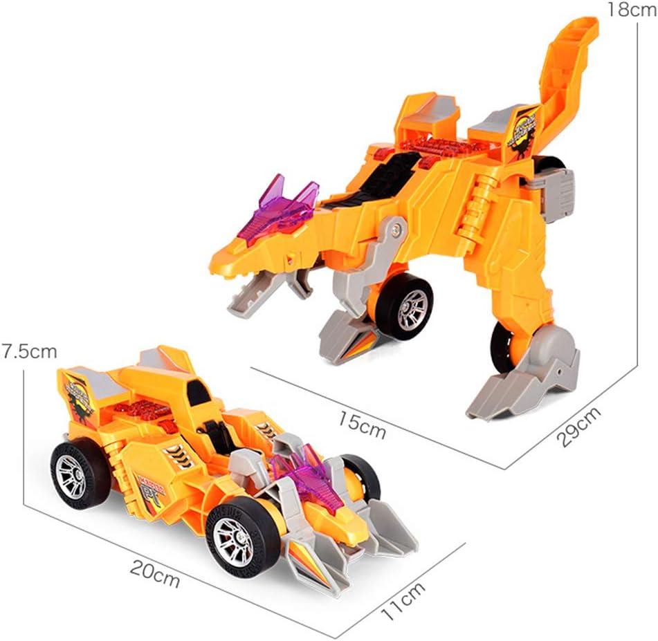 Creamon Transformator-Dinosaurier-Auto omnidirektionales Deformations-Auto-Spielzeug Transformator-Dinosaurier-Auto mit hellem Orange