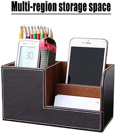 Medificador Elegante organizador de escritorio de cuero control remoto marr/ón caja para bol/ígrafo // l/ápiz tel/éfono celular
