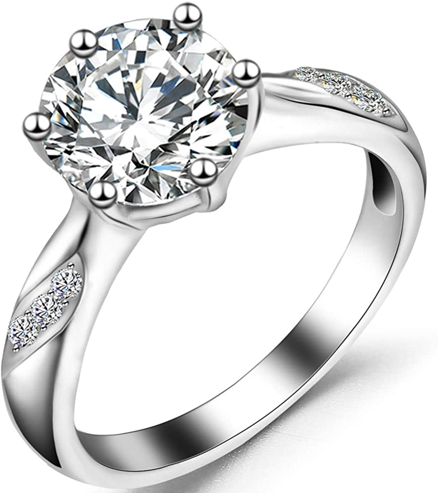 Jude Jewelers Stainless Steel Prong Setting Cubic Zircon Eternity Wedding Band Ring