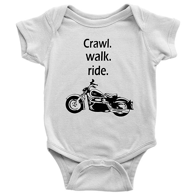 Amazon com: Crawl Walk Ride Motorcycle Baby Bodysuit Onesie