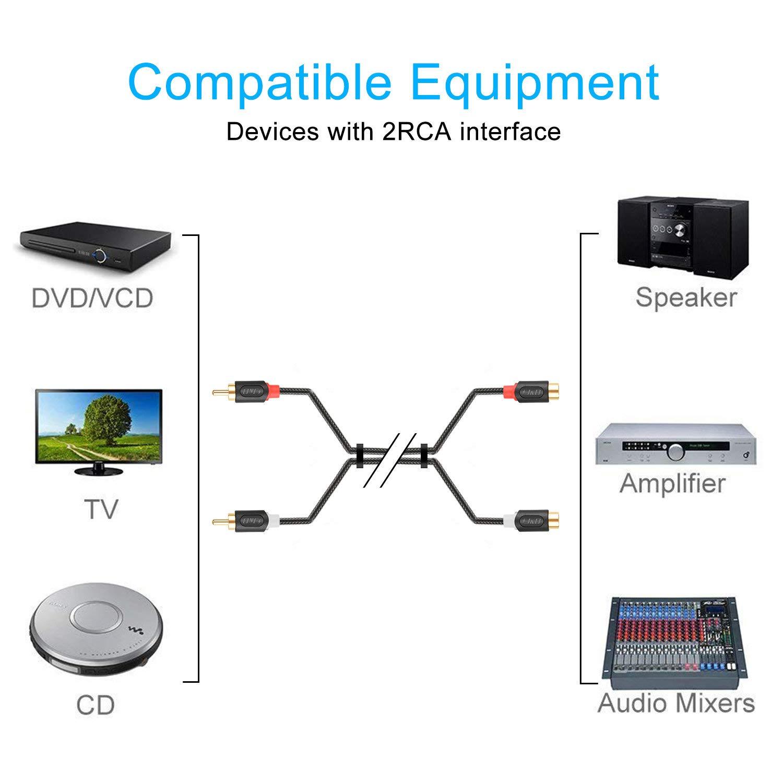 J/&D 2RCA to 2RCA Cavo 2 RCA Maschio a 2 RCA Femmina Cavo Audio Stereo con PVC Sgusciato e Nylon Treccia Serie AudioWave RCA Cable Oro-Placcato 4.5 Meter