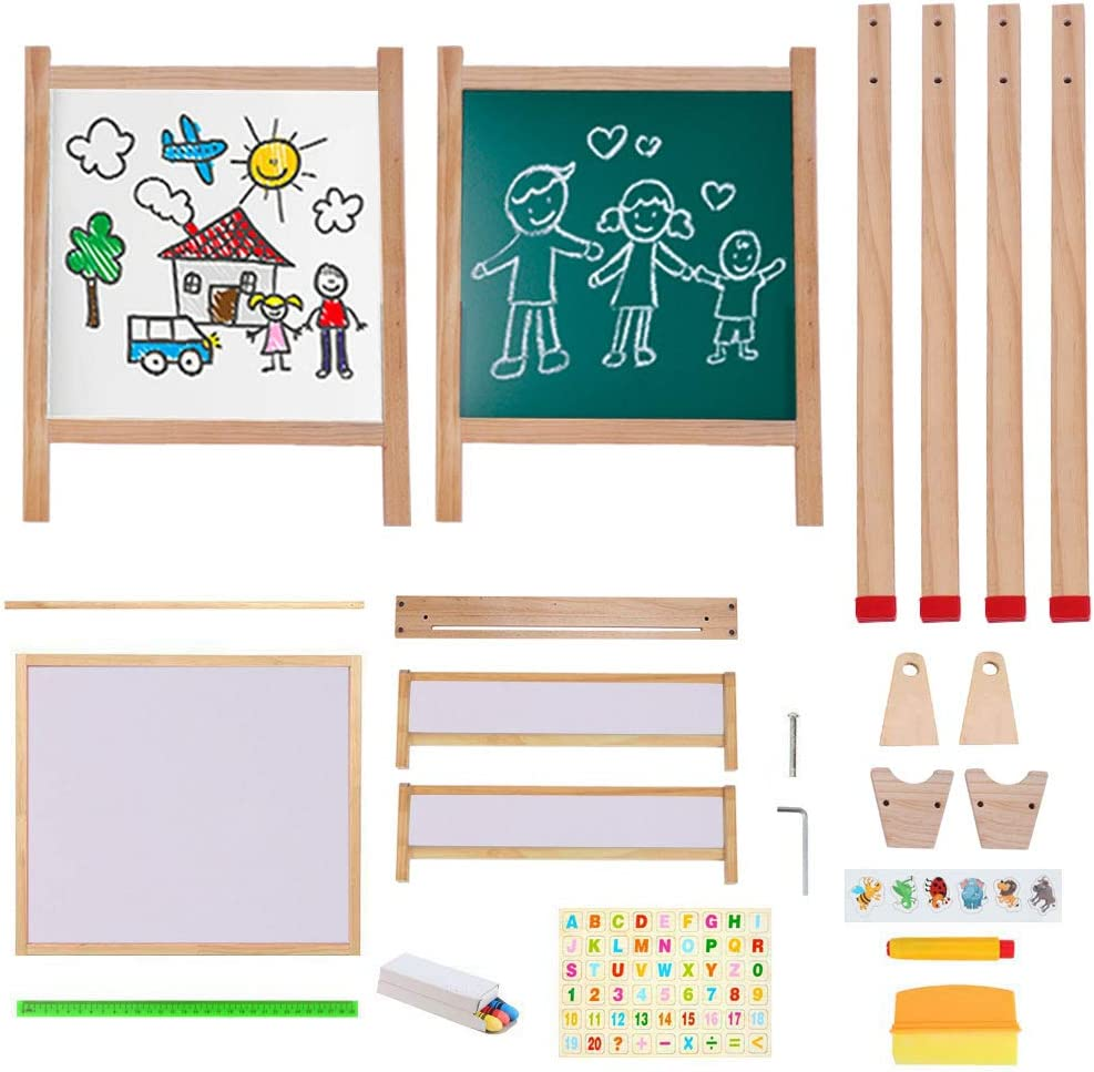 Wooden Art Easel Kids Easel With Magnetic Chalkboard Black/White Board Easel With Roll Of Paper Not Included Numbers Other Accessories For Kids,Toddlers