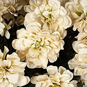 Tableclothsfactory 4 Bushes California Zinnia Artificial Wedding Craft Flowers - Champagne 2