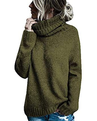 6f299718e2ba Coutgo Womens Turtleneck Sweater Casual Solid High Neck Chunky Knitted  Jumper Pullover Tops Army Green