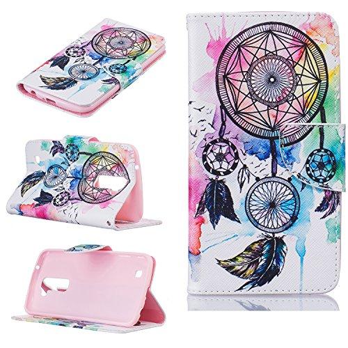 LG K10 Case, LG Premier LTE Wallet Case, Jenny Shop Pocketbook Design PU Leather Magnetic Flip Wallet Case with Card Holders Magnetic Closure for LG K10 / Premier LTE (Feather Windbell)
