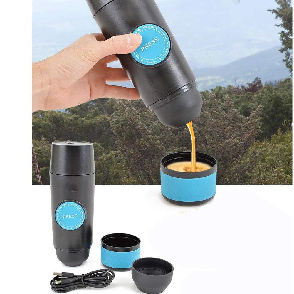 ufficio campeggio e viaggio Mini Macchina espresso portatile manuale perfetto a escursioni 18 bar di pressione caffettiera ricaricabile per casa Nero HomeYoo macchina per caff/è con cavo USB