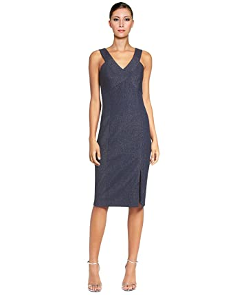 9c057669b13 Laundry by Shelli Segal Womens Shimmer Slit Cocktail Dress Navy 4 at ...