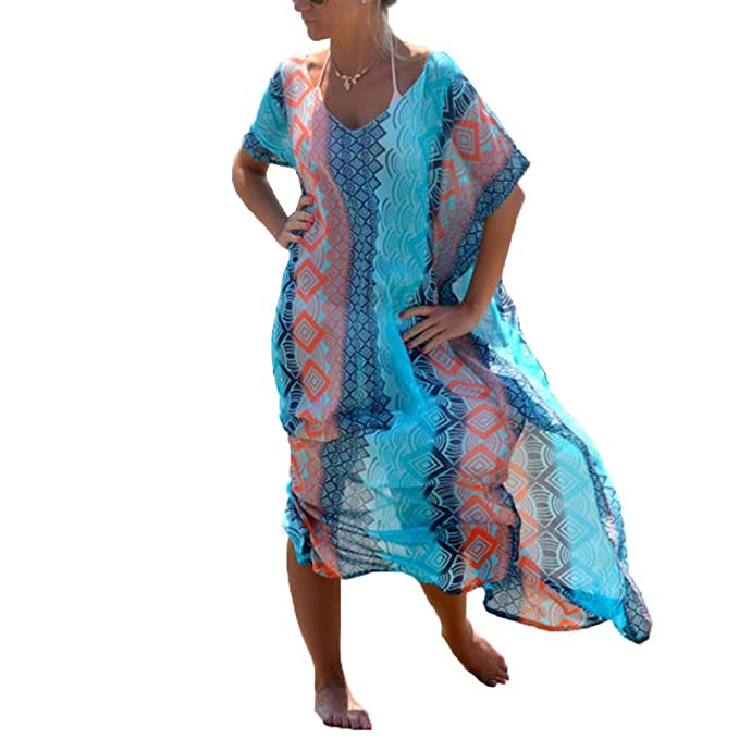 d261ad42cc Womens Beach Cover Ups Dress - Long Chiffon Print Bathing Suit Cover Up  Caftan Bikini Swimsuit