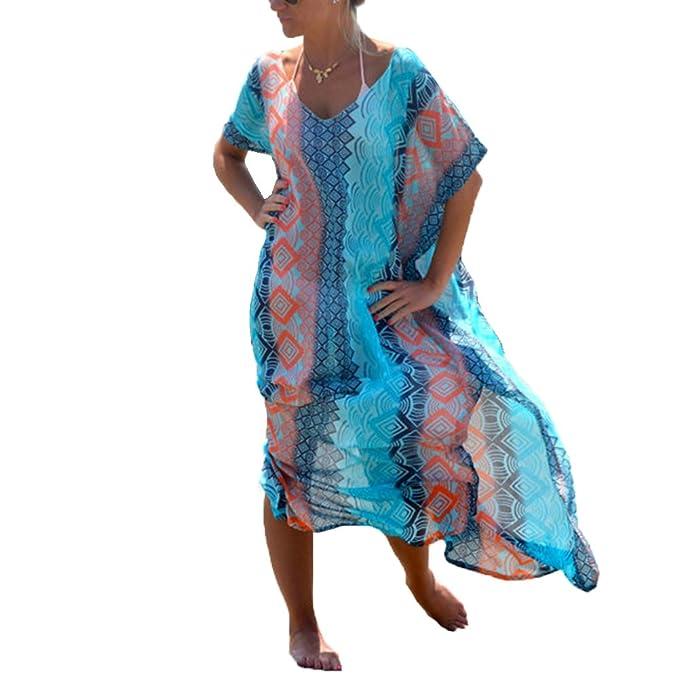 6f3eed0f3e Womens Beach Cover Ups Dress - Long Chiffon Print Bathing Suit Cover Up  Caftan Bikini Swimsuit