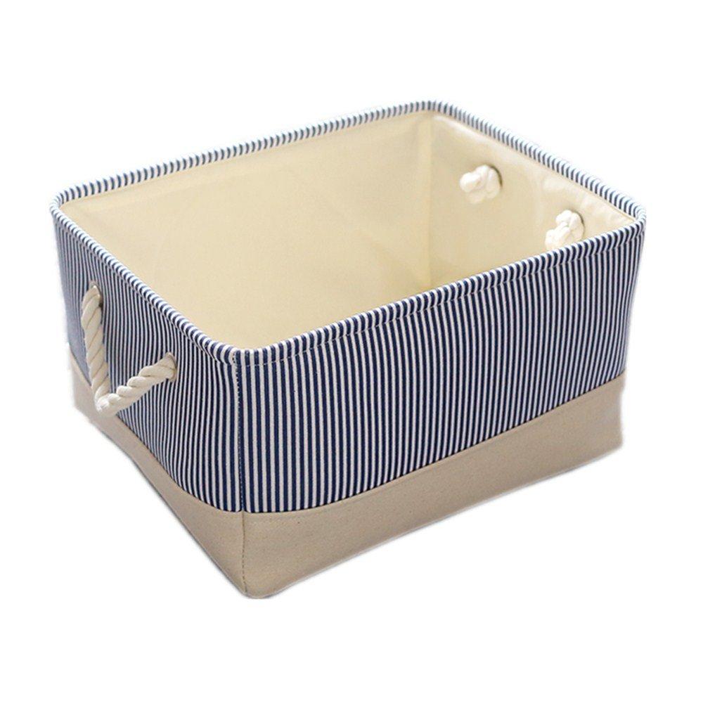 TheWarmHome Basket for Dog Toy Storage,Blue Storage Basket,Decorative Basket for Gifts Empty,Baby Fabric Basket(13.8×9.8×6.7inch)